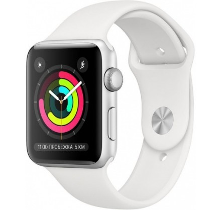 Apple Watch Series 3, 42 мм, корпус из серебристого алю...
