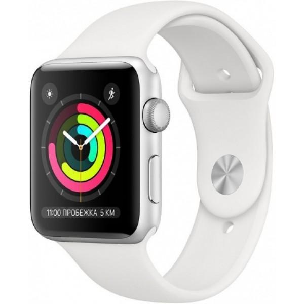 Apple Watch Series 3, 42 мм, корпус из серебристого алюминия, спортивный ремешок белого цвета