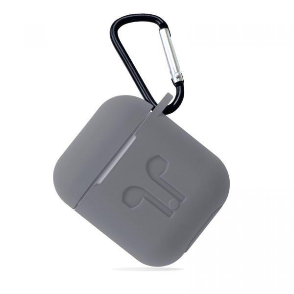 Чехол AirPods с карабином серый