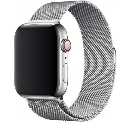 Ремешок миланский браслет Apple Watch 38/40 мм серебро