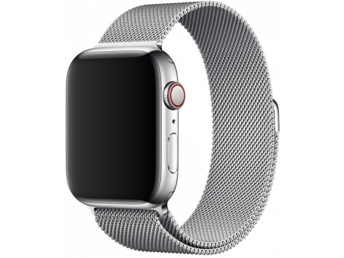 Ремешок миланский браслет Apple Watch 42/44 мм серебро в Тюмени
