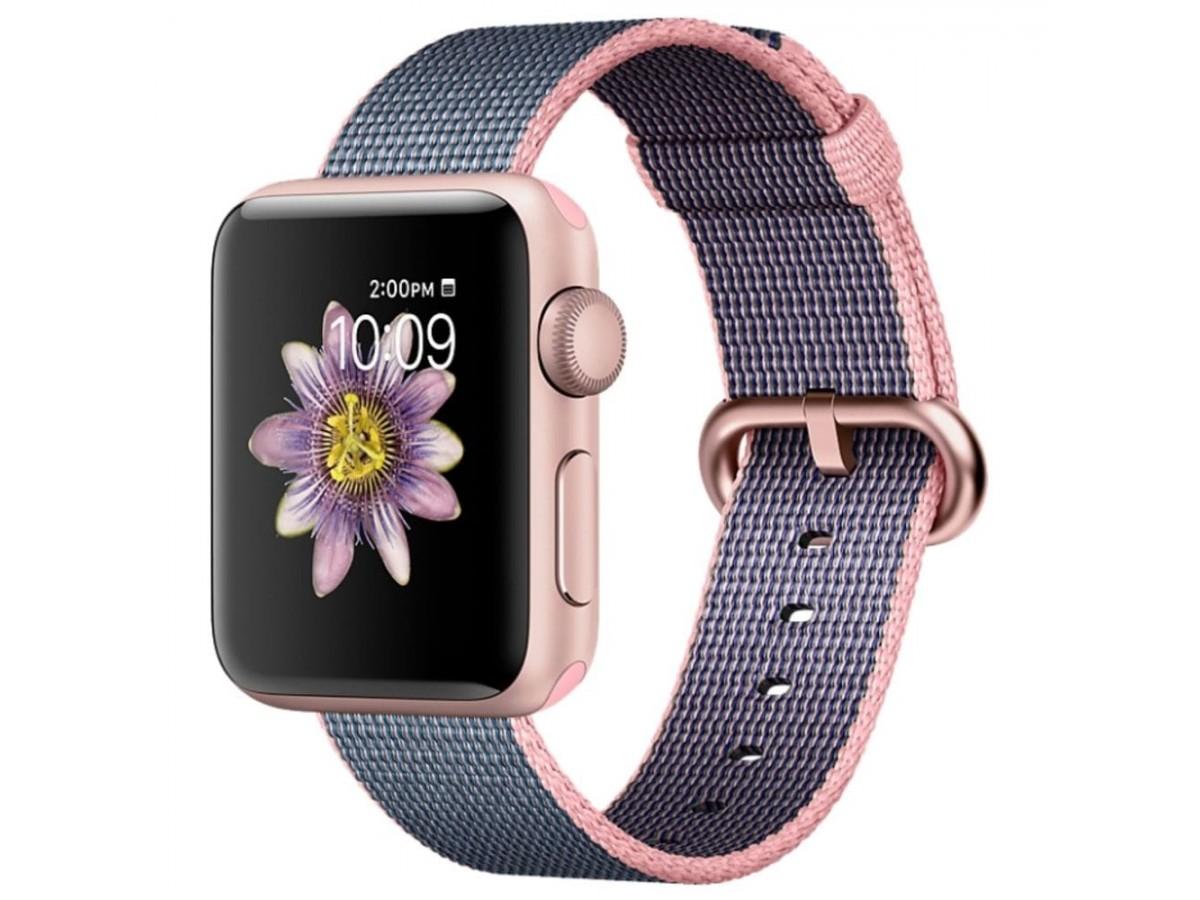 Ремешок Apple Watch 42/44мм из плетеного нейлона (розово-серый) в Тюмени