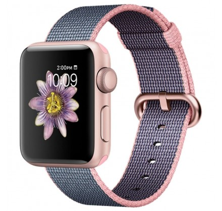 Ремешок Apple Watch 42/44мм из плетеного нейлона (розов...