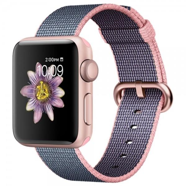 Ремешок Apple Watch 42/44мм из плетеного нейлона (розово-серый)