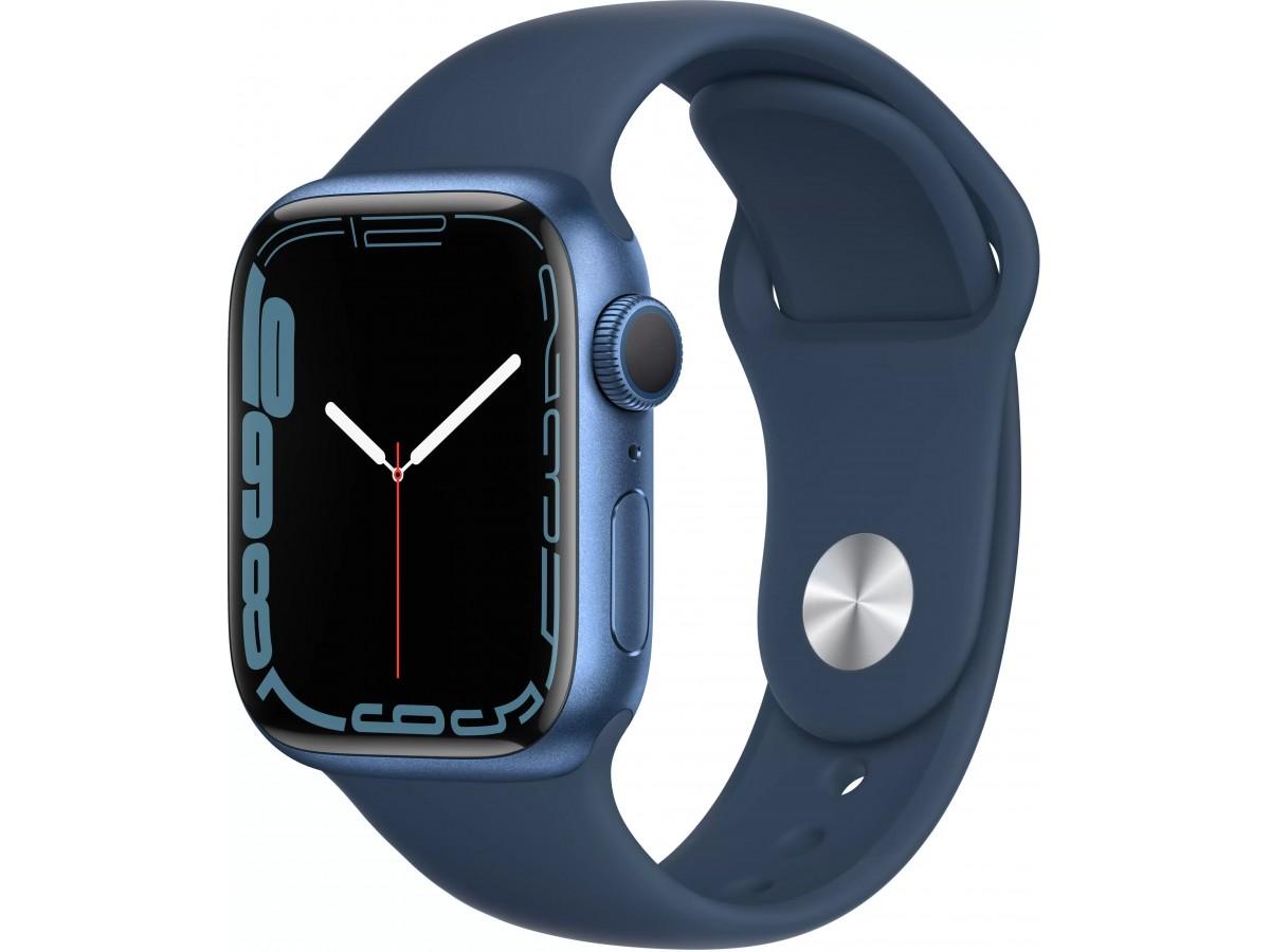 """Apple Watch Series 7, 41 мм, корпус из алюминия cинего цвета, спортивный ремешок цвета """"синий омут"""" в Тюмени"""
