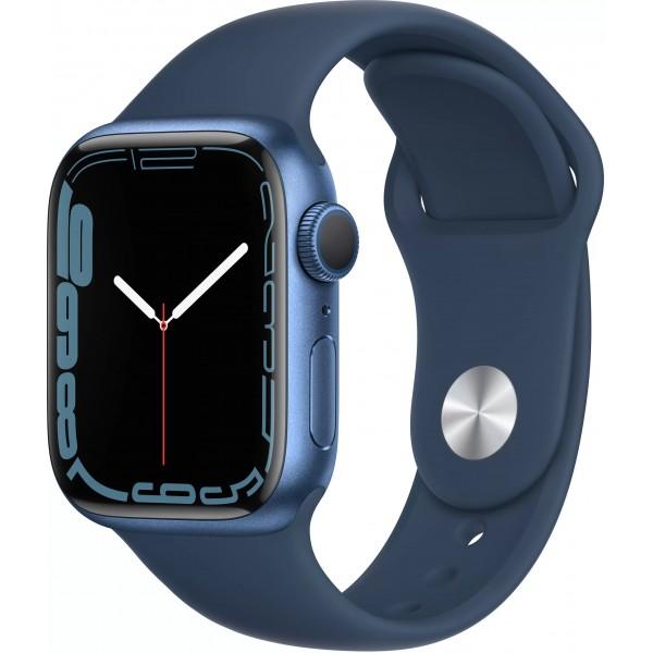 """Apple Watch Series 7, 41 мм, корпус из алюминия cинего цвета, спортивный ремешок цвета """"синий омут"""""""