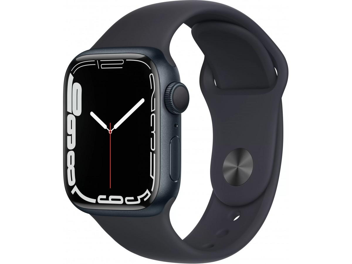 Apple Watch Series 7, 45 мм, корпус из алюминия цвета (тёмная ночь), спортивный ремешок цвета (тёмная ночь) в Тюмени