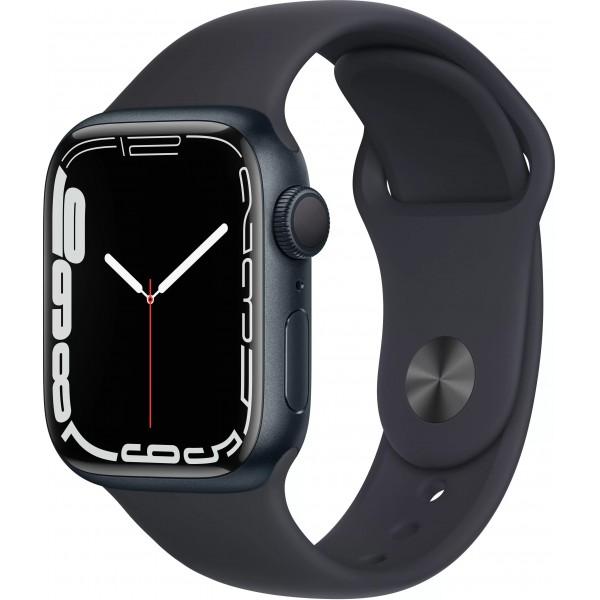 Apple Watch Series 7, 45 мм, корпус из алюминия цвета (тёмная ночь), спортивный ремешок цвета (тёмная ночь)