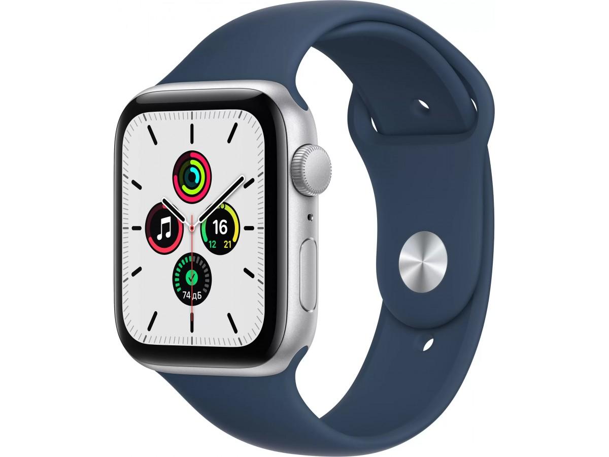 Apple Watch SE, 44 мм, корпус из алюминия серебристого цвета, спортивный ремешок цвета (синий омут) в Тюмени