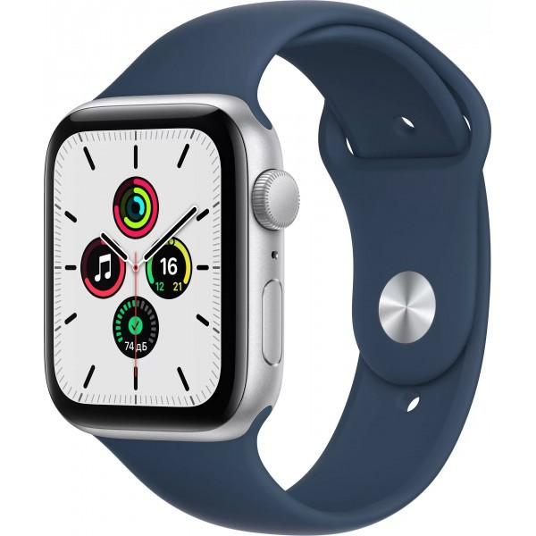 Apple Watch SE, 44 мм, корпус из алюминия серебристого цвета, спортивный ремешок цвета (синий омут)