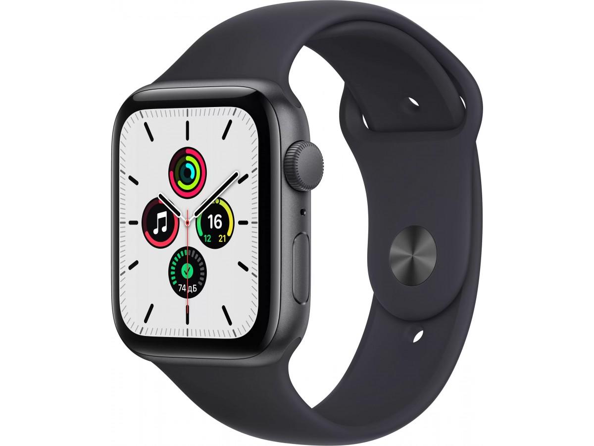 Apple Watch SE, 40 мм, корпус из алюминия цвета (серый космос), спортивный ремешок цвета (тёмная ночь) в Тюмени