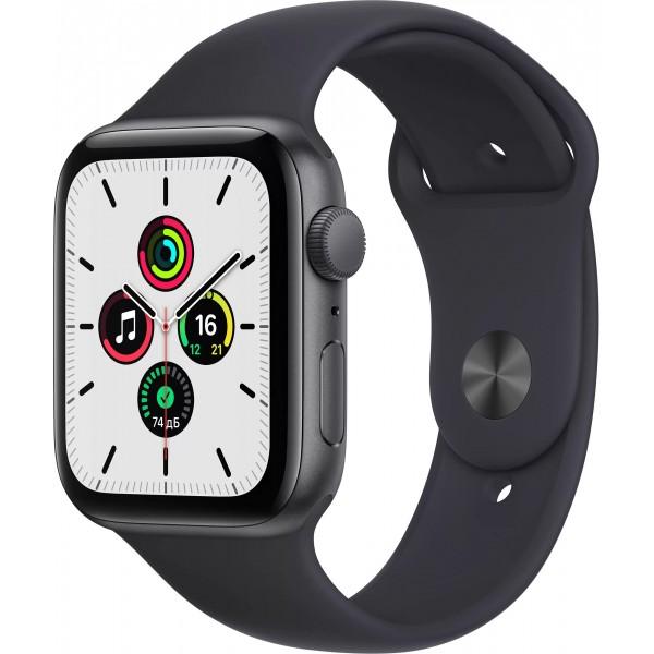 Apple Watch SE, 40 мм, корпус из алюминия цвета (серый космос), спортивный ремешок цвета (тёмная ночь)